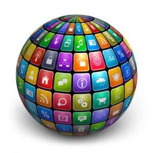 Kugel mit Symbolen von Web-Applikationen
