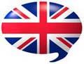 Sprechblase mit GB-Flagge